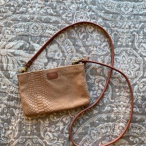 Fossil Dusty Pink Textured Crossbody Bag